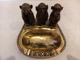 Нимор. Бронзовая статуэтка, пепельница -Три обезьяны - бронза, латунь., фото №9