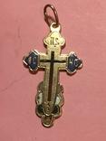 Золотой крестик в эмалях 56пр, фото №2