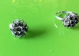 Гарнитур: серьги и кольцо с камнями, фото №4