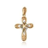 Золотой крестик с фианитами (красное и белое золото), фото №3