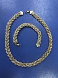 Набор  из цепи с браслетом , серебро 925, фото №3
