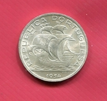 Португалия 10 эскудо 1954 aUNC серебро Парусник, фото №2