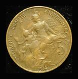 Франция 5 сентим 1914, фото №2