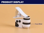 Микроскоп Mpk10-Cl60x с клипсой зажимом и usb зарядкой для смартфона, фото №9
