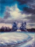 Картина, Була зима, 15х20 см. Живопис на полотні, фото №3
