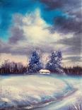 Картина, Була зима, 15х20 см. Живопис на полотні, фото №4