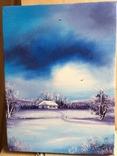 Картина, Зимові мрії, 15х20 см. Живопис на полотні, фото №4