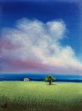 Картина, Хатинка за лугом, 15х20 см. Живопис на полотні, фото №3