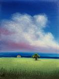 Картина, Хатинка за лугом, 15х20 см. Живопис на полотні, фото №4