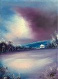 Картина, Спогади про зиму, 15х20 см. Живопис на полотні, фото №3