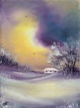 Картина, Згадки про зимову пору, 15х20 см. Живопис на полотні, фото №3