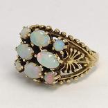 Золотое кольцо с натуральными опалами, фото №2