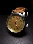 Часы марьяж Ракета 2609.НА корпус Авиатор с кожаным ремнём Megir, фото №2