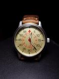 Часы марьяж Ракета 2609.НА корпус Авиатор с кожаным ремнём Megir, фото №3