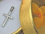 Крестик серебро 925 проба 1,29 грамма без пробы, фото №2
