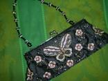 Сумочка атласная расшитая бисером и пайетками и вышивкой, фото №5