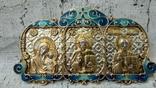 Серебряная икона триптих/ ДеИисус автомобильный, 925 + позолота, фото №8