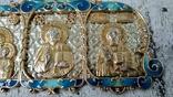 Серебряная икона триптих/ ДеИисус автомобильный, 925 + позолота, фото №12