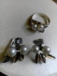 Серебряный комплект с жемчугом кольцо серьги, фото №5