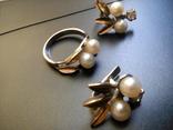 Серебряный комплект с жемчугом кольцо серьги, фото №6
