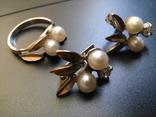 Серебряный комплект с жемчугом кольцо серьги, фото №3