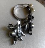 Серебряный комплект с жемчугом кольцо серьги, фото №9