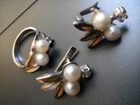 Серебряный комплект с жемчугом кольцо серьги, фото №13