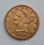 5 долларов 1880 сша, фото №2