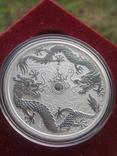 Австралия 1 доллар 2019 г. Два дракона двойной дракон серебро 999 пробы , 1 унция, фото №2