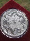 Австралия 1 доллар 2019 г. Два дракона двойной дракон серебро 999 пробы , 1 унция, фото №3