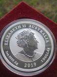 Австралия 1 доллар 2019 г. Два дракона двойной дракон серебро 999 пробы , 1 унция, фото №4