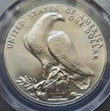 """США 1 доллар 1984 P """"XXIII летние Олимпийские Игры в Лос-Анджелесе"""" в слабе PCGS """"MS-69 """", фото №5"""