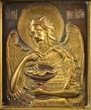 Икона. Образ. Деисус. Чеканка в деревянной раме 175х153 мм., фото №3