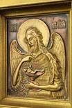 Икона. Образ. Деисус. Чеканка в деревянной раме 175х153 мм., фото №5