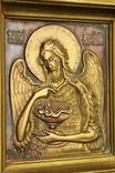Икона. Образ. Деисус. Чеканка в деревянной раме 175х153 мм., фото №7