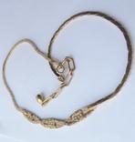 Колье-цепочка золотого цвета с белыми кристаллами. США. 60-е гг., фото №3