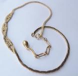Колье-цепочка золотого цвета с белыми кристаллами. США. 60-е гг., фото №4