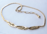 Колье-цепочка золотого цвета с белыми кристаллами. США. 60-е гг., фото №8