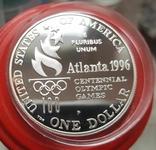 США 1 доллар 1996 г XXVI Летние Олимпийские игры 1996 года в Атланте. Прыжки. ПруФ, фото №3
