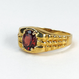 Винтажный золотой перстень с натуральным гранатом, фото №2