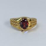 Винтажный золотой перстень с натуральным гранатом, фото №4