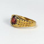 Винтажный золотой перстень с натуральным гранатом, фото №5