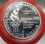 США 1 доллар 1996 г.  XXVI Летние Олимпийские игры 1996 года в Атланте. Гонки на колясках, фото №3