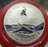 США 1 доллар 1995 г. Серебро. XXVI Летние Олимпийские игры 1996 года в Атланте. Бег. Пруф, фото №3