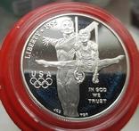США 1 доллар 1995 г. XXVI Летние Олимпийские игры 1996 года в Атланте. атлетика Пруф, фото №2