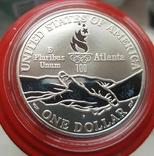 США 1 доллар 1995 г. XXVI Летние Олимпийские игры 1996 года в Атланте. атлетика Пруф, фото №3