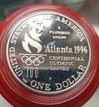 США 1 доллар 1996 г  XXVI Летние Олимпийские игры 1996 года в Атланте. Гребля. ПруФ, фото №3