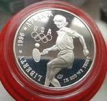 США 1 доллар 1996 г. XXVI Летние Олимпийские игры 1996 года в Атланте. Теннис. Пруф, фото №2