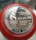 США 1 доллар 1996 г. XXVI Летние Олимпийские игры 1996 года в Атланте. Теннис. Пруф, фото №3