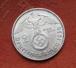 2 марки 1936 г. (G) Третий рейх, серебро, Редкая, фото №6